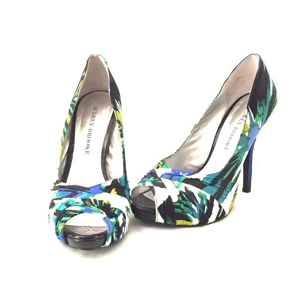 Audrey Brooke Shoes Peep Toe Patterned Heels Poshmark Best Patterned Heels